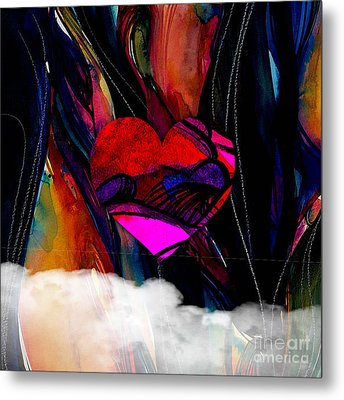 Heart Floating Above Clouds Metal Print