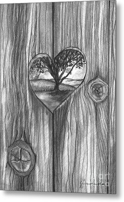 Metal Print featuring the drawing Heart In The Fence by J Ferwerda