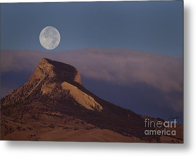 Heart Mountain And Full Moon-signed-#0325 Metal Print by J L Woody Wooden