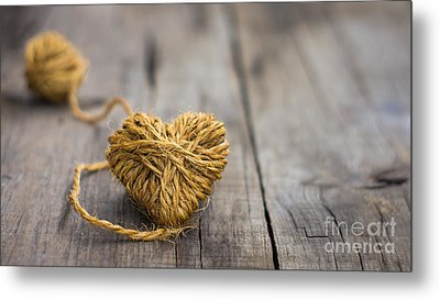 Heart Out Of String Metal Print by Aged Pixel
