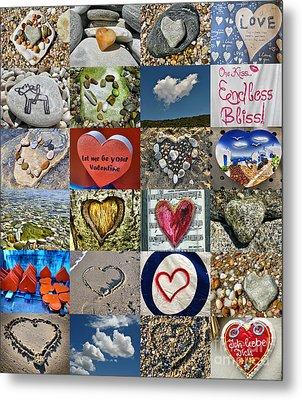 Heart Shape Collage  Metal Print by Daliana Pacuraru