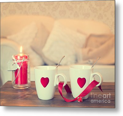 Heart Teacups Metal Print by Amanda Elwell
