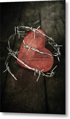 Heart With Barbed Wire Metal Print by Joana Kruse
