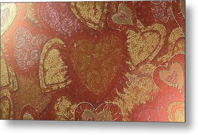 Hearted In Gold Silk Metal Print by Catherine Lott