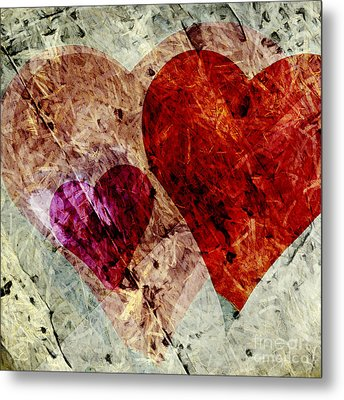 Hearts 10 Square Metal Print by Edward Fielding