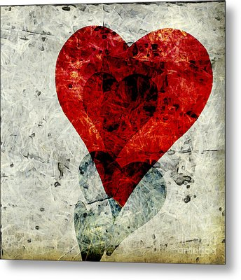 Hearts 3 Square Metal Print by Edward Fielding