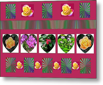 Hearts And Flowers 2 Metal Print by Marian Bell
