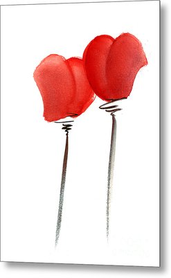 Hearts Heart Vine Glasses Vedding Valentine Day Invitation Flowers Pink Orange Red Heart Flower Gicl Metal Print by Johana Szmerdt