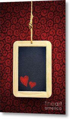 Hearts In Slate Metal Print by Carlos Caetano