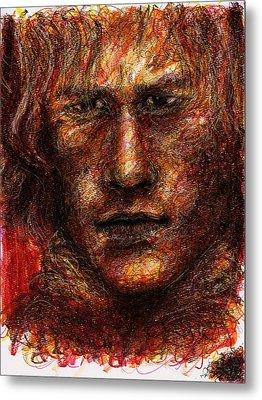 Heath Ledger - Red Metal Print by Rachel Scott