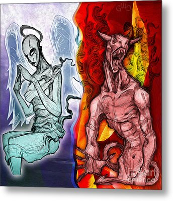 Heaven And Hell - New School Tattoo Art Metal Print by Gregory Dyer