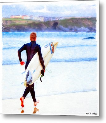 Heaven Is On A Wave - Surfer At Newquay Metal Print by Mark E Tisdale