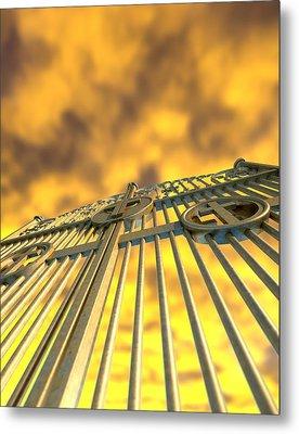 Heavens Golden Gates And Yellow Sky Metal Print
