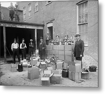 Heavily Armed Feds Seize Liquor Cache 1922 Metal Print by Daniel Hagerman