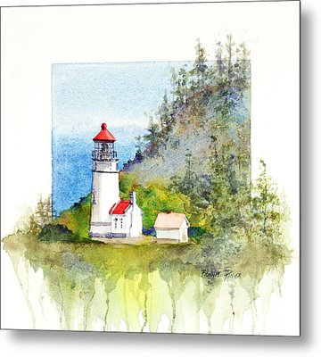 Metal Print featuring the painting Heceta Head Lighthouse by Bonnie Rinier