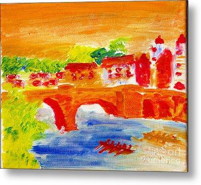 Heidelberg Old Bridge And Neckar River 1 Metal Print by Richard W Linford