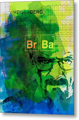 Heisenberg Watercolor Metal Print by Naxart Studio
