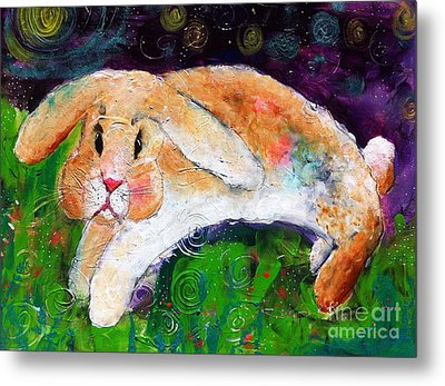 Helen's Birthday Rabbit In Glastonbury Metal Print