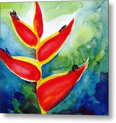 Heliconia - Abstract Painting Metal Print by Carlin Blahnik
