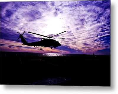 Helicopter Silhouette At Sunset Metal Print by Mountain Dreams