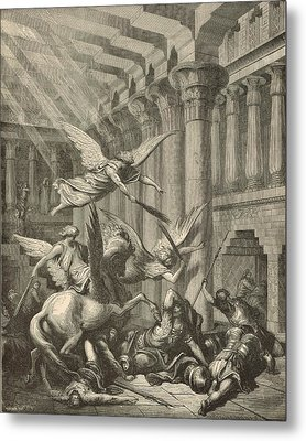 Heliodorus Punished In The Temple Metal Print by Antique Engravings