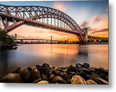 Hell Gate And Triboro Bridge At Sunset Metal Print by Mihai Andritoiu