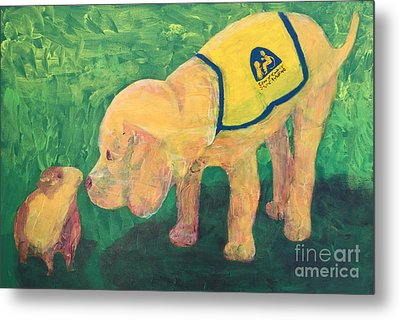 Metal Print featuring the painting Hello - Cci Puppy Series by Donald J Ryker III
