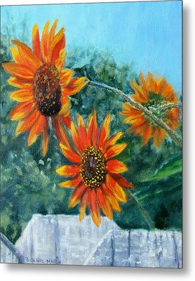 Hello Neighbor-sunflowers Over The Fence Metal Print by Bonnie Mason