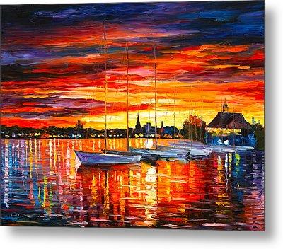 Helsinki Sailboats At Yacht Club Metal Print by Leonid Afremov