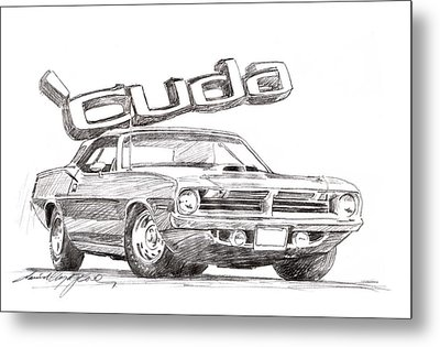Hemi Cuda Power Metal Print by David Lloyd Glover