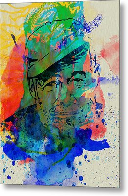 Hemingway Watercolor Metal Print by Naxart Studio
