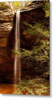 Metal Print featuring the photograph Hemlocks And Waterfall by Haren Images- Kriss Haren