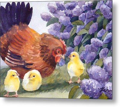 Hen And Chicks Chicken Art Metal Print