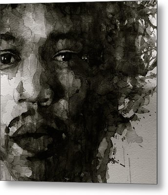 Hendrix   Black N White Metal Print by Paul Lovering