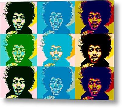 Hendrix Pop Art Collage Metal Print by Dan Sproul