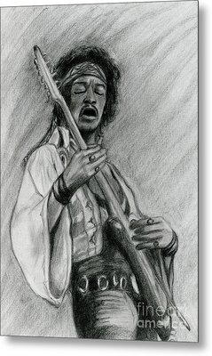 Metal Print featuring the drawing Hendrix by Roz Abellera Art