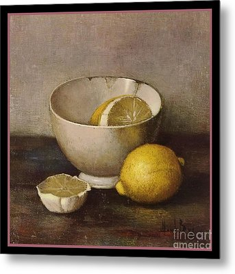 Henk Bos Fruits Still Life Lemons With White Bowl Metal Print by Pierpont Bay Archives