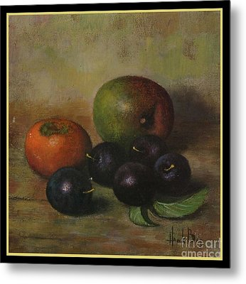 Henk Bos Fruits Still Life Plums  Metal Print by Pierpont Bay Archives