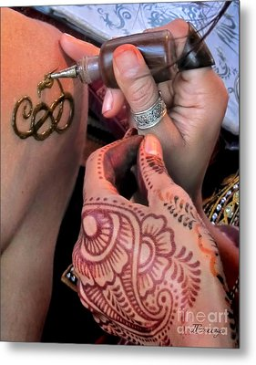Metal Print featuring the photograph Henna Hands At Work by Jennie Breeze