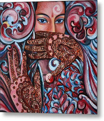 Metal Print featuring the painting Henna by Harsh Malik