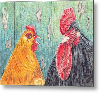 Metal Print featuring the drawing Henpecked by Arlene Crafton