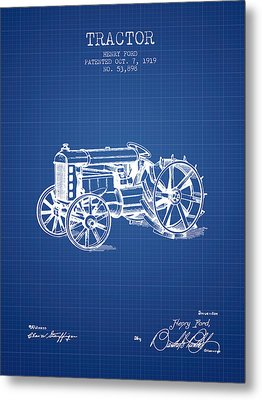 Henry Ford Tractor Patent  From 1919 - Blueprint Metal Print by Aged Pixel