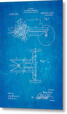 Henry Ford Transmission Mechanism Patent Art 1911 Blueprint Metal Print by Ian Monk