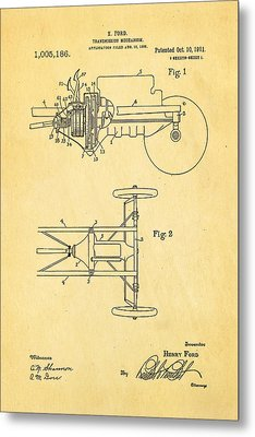 Henry Ford Transmission Mechanism Patent Art 1911 Metal Print by Ian Monk