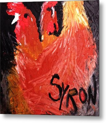 Metal Print featuring the drawing Hens by Helen Syron