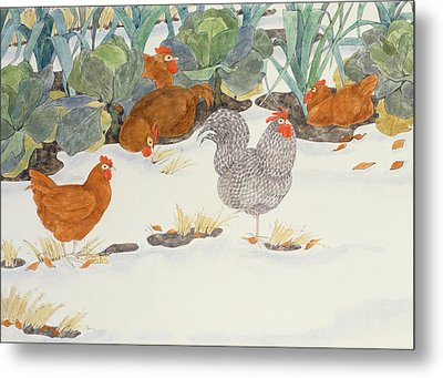 Hens In The Vegetable Patch Metal Print