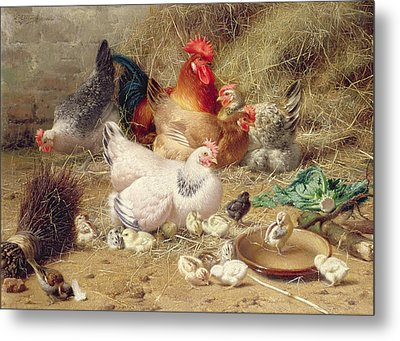 Hens Roosting With Their Chickens Metal Print by Eugene Remy Maes