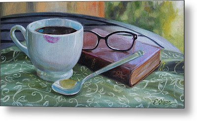 Her Morning Coffee Metal Print