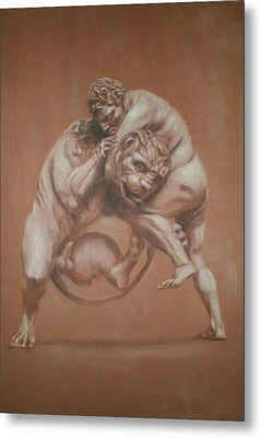 Heracles And The Lion Metal Print by Paez  Antonio