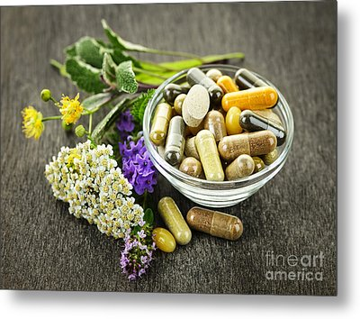 Herbal Medicine And Herbs Metal Print by Elena Elisseeva